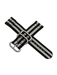 18mm Black/Grey High-end Nato style Ballistic Nylon Watch Band Strap Replacement for Men Casual Braided