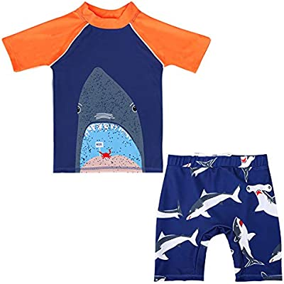 Digirlsor Baby Toddler Boys Two Piece Rash Guard Swimsuits Kids Long Sleeve Hooded Shark Bathing Suit Swimwear Set