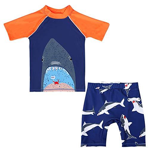 Digirlsor Kids Toddler Boys Two Piece Swimsuit Rash Guard Short Sleeve Quick Dry Swim Trunks Swimwear Set,2-11 Years Orange