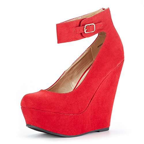 DREAM PAIRS Women's Height-Ankle Red Suede Elegant Ankle Strap Rear Zipper Closure Wedge Heel Platform Pumps Shoes Size 5.5 B(M) US