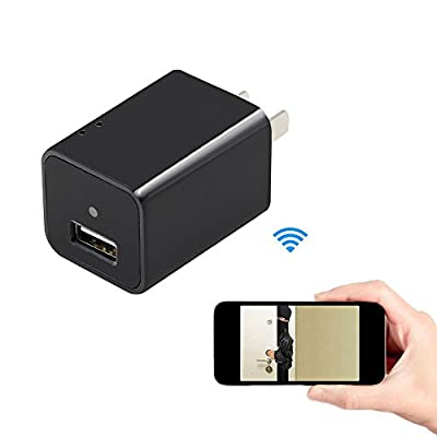 Hidden Cameras Charger Adapter,EOVAS HD USB Wall Charger Adapter Wireless Wifi Hidden Spy Camera / Nanny Cam Video Recorder Support Smartphone Remote View from EOVAS