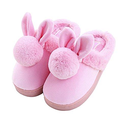 Unión Tesco adultos algodón Pantuflas, nette Caricatura Rabbit Zapatillas/Slip Personas Invierno Cálidos plusch de zapatillas, zapatillas Indoor Floor antideslizante zapatillas Rosa