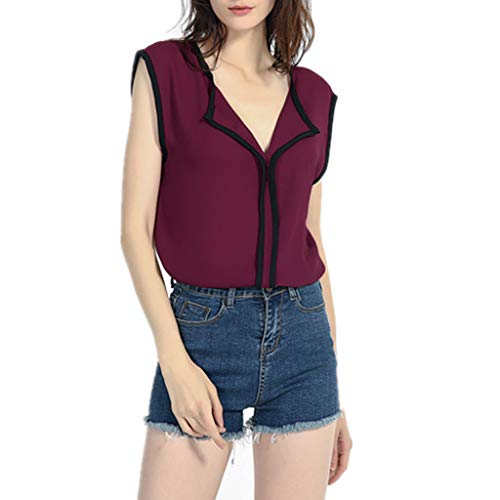 - ZSBAYU Women's Summer V Neck Strappy Tank Tops Basic Loose Casual Sleeveless Sweet Chiffon Shirts Blouses(Wine,L)