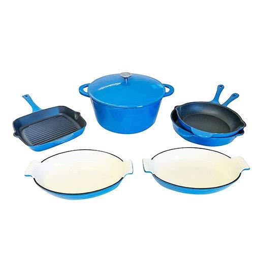 Le Chef 7-Piece Enameled Cast Iron France Blue Cookware Set. ()