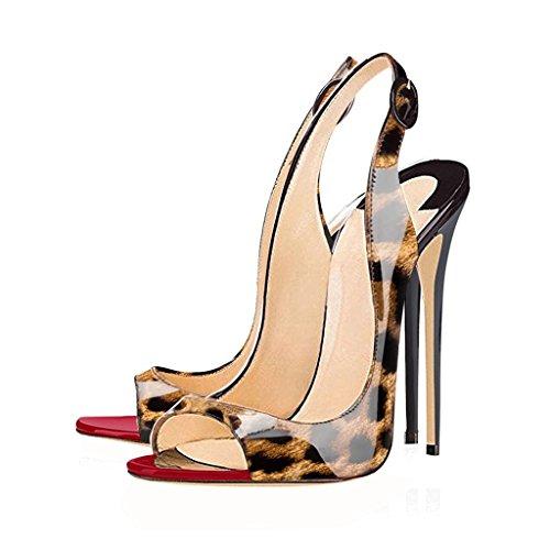 Slingback Toe Tacco Peep Caviglia Donna Leopard Con Edefs Fibbia Spillo Scarpe Sandali A Cinturino qwZIEA