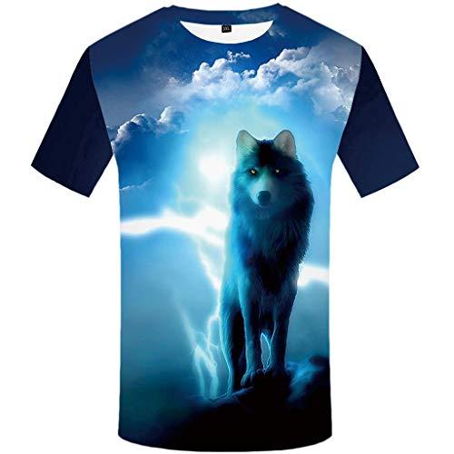 Men's Summer T-Shirt 3D Printed Blouse Short Sleeves Comfort Top Blue]()