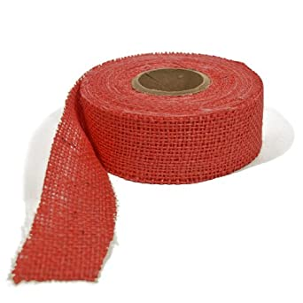 Burlap Ribbon - Barn Red, 1.5 Inch X 10 Yards