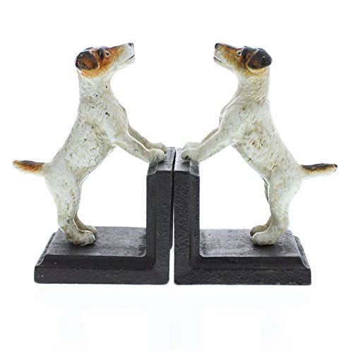 Antique Style Jack Russell Dog Bookends | Metal Terrier Sculpture Pair