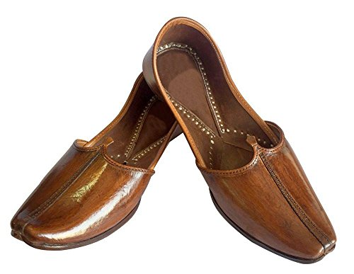 Sandals Casual Indian Rajasthani Khussa Style Punjabi Step Shoes Jooti n Brown Shoes Jutti 0wxqAIP