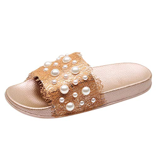Sunhusing Ladies' Lace Pearl Beading Embellished Decorative Home Slippers Outdoor Beach Soft Sole Slippers Rose Gold
