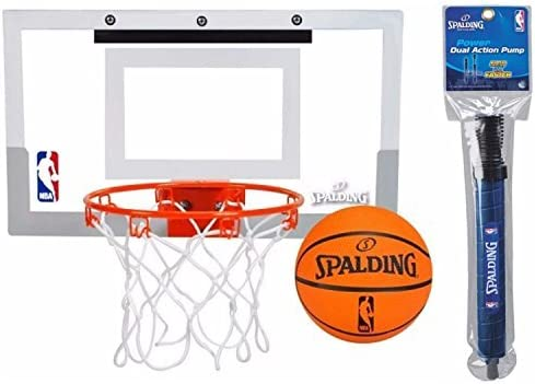 "Amazon.com: Spalding NBA Slam Jam Over-The-Door Mini Basketball Hoop Set and 12"" Dual Action Pump: Sports & Outdoors"