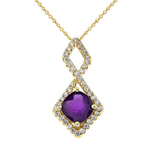 Exquisite 10k Yellow Gold CZ Checkerboard Amethyst Infinity Pendant Necklace, 20