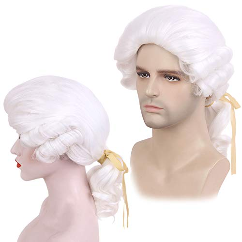 STfantasy Barrister Wig George Washington Cosplay White Long Curly Synthetic for Women Mens Halloween Judge Magistrate Lawyer Attorney Costume