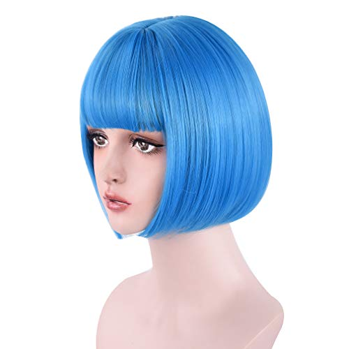 REECHO 11 Short Bob Wig with bangs Cosplay Synthetic Hair for White Black Women Color: Sky Blue
