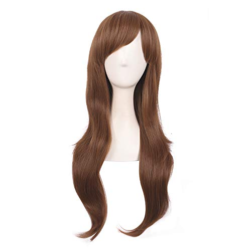 MapofBeauty 28 Inch/70cm Women Side Bangs Long Curly Hair Cosplay Wig (Light Brown) (Black Hairstyles For Long Hair With Side Bangs)