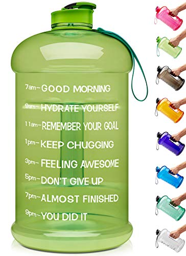 Venture Pal Large 1 Gallon/128 OZ & 74 OZ Motivational Leakproof BPA Free Water Bottle with Time Marker Perfect for Fitness Gym Camping Outdoor Sports-74oz-Green