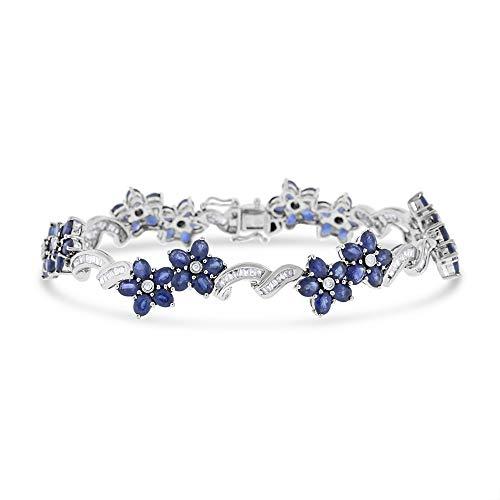 Baguette Blue Sapphire Bracelet - 5.38 Ct. Natural Baguette Diamond & Sapphire Double Flower Bracelet 18k White Gold