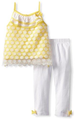 - Mud Pie Baby-Girls Infant Crochet Tunic And Legging Set, Yellow/White, 9 Months
