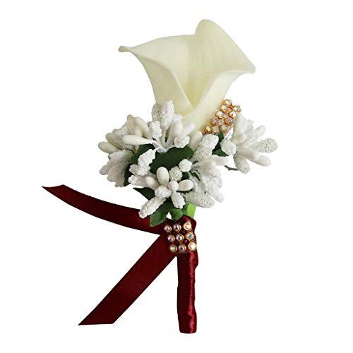 - Almencla Unisex Calla Berry Boutonniere Pin Brooch Wedding Decorations Groom Bride Flower Corsage Wrist Flower - Cream + Wine Red