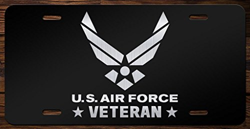 (United States Air Force Veteran Emblem Vanity Front License Plate Tag KCE100)