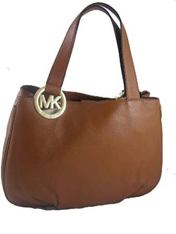 Michael Kors Fulton E/W Large Tote Bag Geniune Leather, Luggage (Green Michael Kors Watch Men)