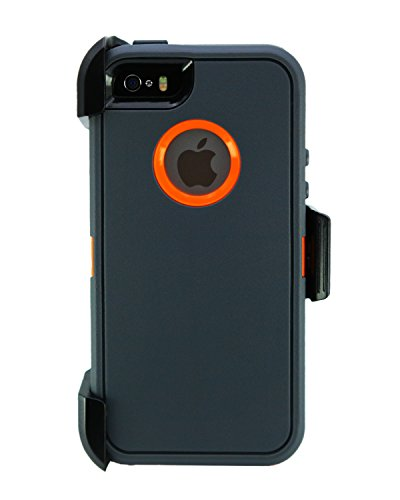 WallSkiN Turtle Series Cases for iPhone 5/5S/5SE (Only) Full Body Protection with Screen Protector & Kickstand & Holster - Charcoal (Dark Grey/Orange) (Otterbox Iphone 5 Body Armor)