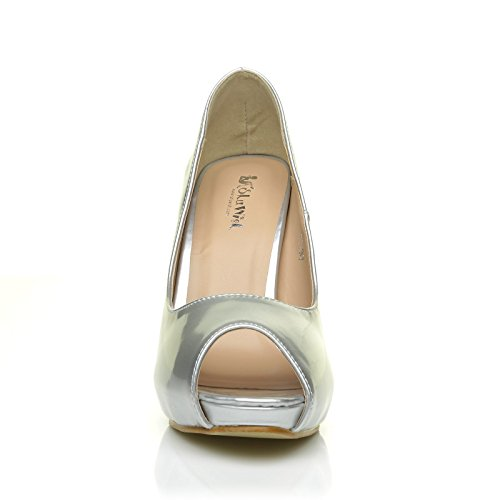 Cuir Métallique Haute forme Aiguille Pu Peep Très Tia Plate Talon Chaussures Argent De Talon Toe qwX041
