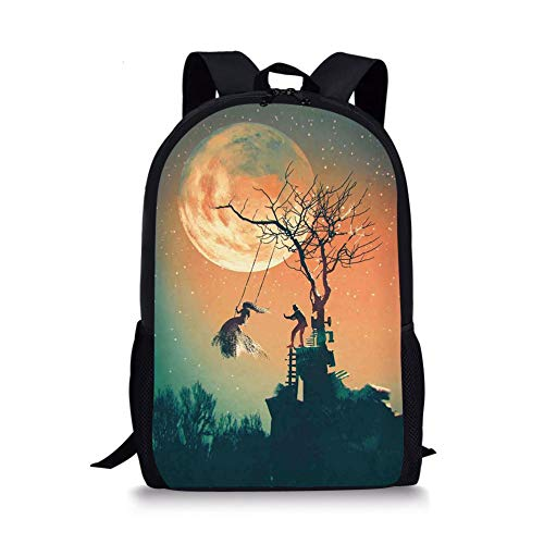 School Bags Fantasy World,Spooky Night Zombie Bride and Groom Lady on Swing Under Starry Sky Full Moon,Orange Teal for Boys&Girls Mens Sport Daypack]()
