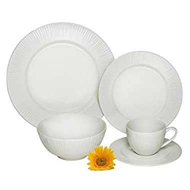 Melange 40 Piece Cascades Premium Dinnerware Place Setting, Ivory