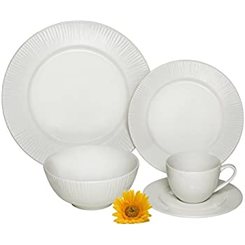 Melange 40-Piece Porcelain Dinnerware Set (Cascades) | Service for 8 | Microwave Dishwasher \u0026 Oven Safe | Dinner Plate Salad Plate Soup Bowl ...  sc 1 st  Amazon.com : dinnerware oven safe - pezcame.com