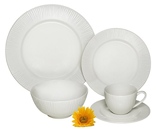 Cups Saucers Oven Safe (Melange 40-Piece Porcelain Dinnerware Set (Cascades) | Service for 8 | Microwave, Dishwasher & Oven Safe | Dinner Plate, Salad Plate, Soup Bowl, Cup & Saucer (8 Each))