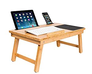 Multi-Tasking Wood Lap Tray with Phone and Tablet Holder