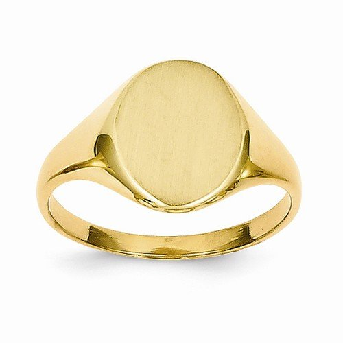 Size - 4.5 - Solid 14k Yellow Gold Signet Engravable Plate Ring (2 to 10mm) 14k Yellow Gold Signet Ring