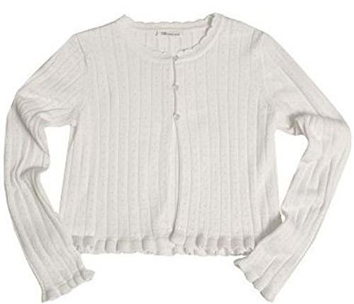 Bonnie Jean Girls' Pointelle Cardigan 100% Cotton White (5) - Alpine Kids Sweater