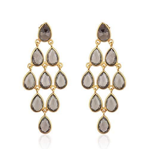 (Bezel Set Smoky Quartz Stone 925 Sterling Silver Chandelier Earrings)
