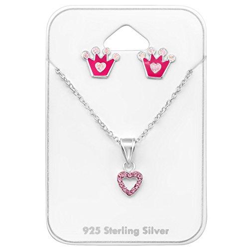 Tata Gisele© juego de collar y pendientes (plata 925/000rhodié, epoxi y cristal–corazón & Corona–Rosa
