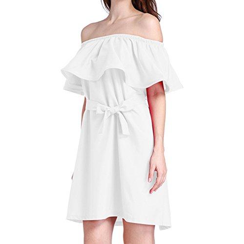 Hrph Sexy Frauen Rüschen Slash Neck Kleid Sommer Style Off Schulter ...