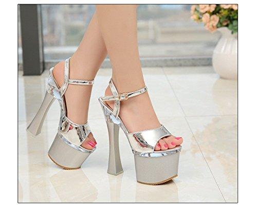 zapatos centimetros Stage caminando mostrar XiaoGao 18 Plateado Model y super Noche tienda Performance tacones RwvT7q