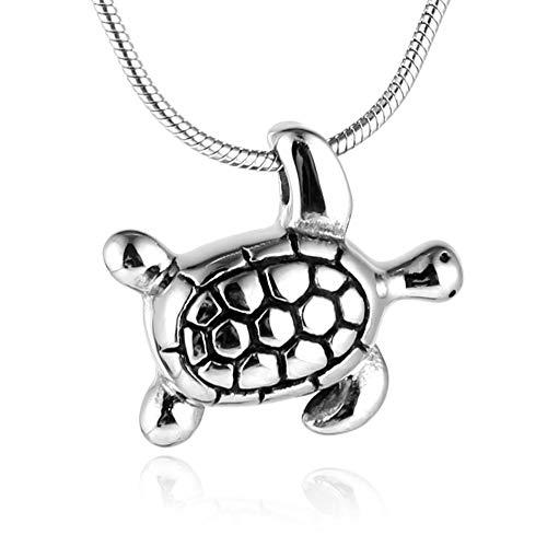 HZMAN Stainless Steel Pet Paw Urn Turtle Pendant Memorial Ash Keepsake Cremation ()