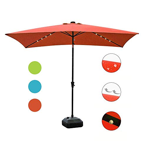 COBANA 9.8′ by 6.6′ 22 Solar Powered LED Lighted Outdoor Table Umbrella Aluminum Patio Umbrella,Brick Red