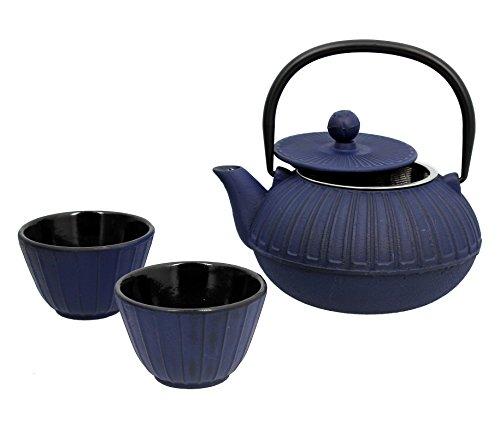 Util Home 7321630 Sapporo - Juego de tetera y 2 tazas (hierro fundido, 0,6 L), color azul