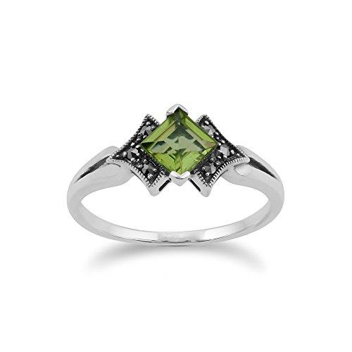 Gemondo Marcasite Ring, 925 Sterling Silver Art Deco Mystic Green Topaz & Marcasite Ring - Green Marcasite Ring