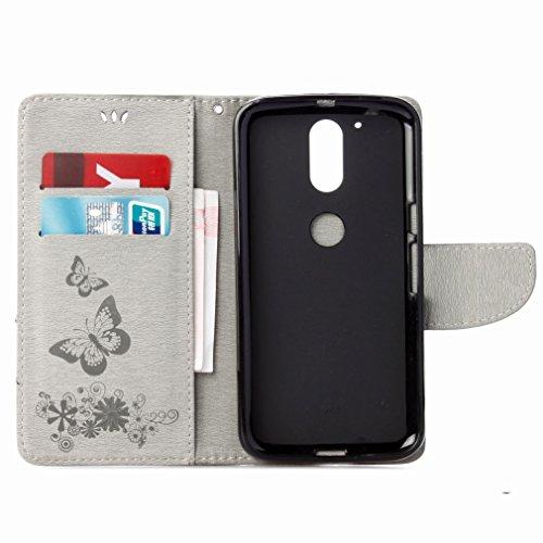 Custodia Motorola Moto G4 Plus Cover Case, Ougger Fiore Farfalla Portafoglio PU Pelle Magnetico Stand Morbido Silicone Flip Bumper Protettivo Gomma Shell Borsa Custodie con Slot per Schede (Grigio)