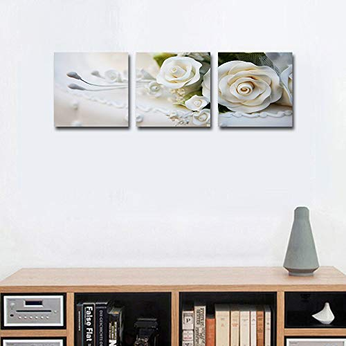 Mon Art White Rose Canvas Print Wall Art Pure Love Romatic Flower Picture Painting for Girls Bedroom Living Room Bathroom House Decoration Tulip Lily Artwork Wedding Home Decor Framed,12x12 in 3Pcs