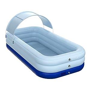 AYES Piscina Jardín Inalámbrica Piscina autohinchable de PVC Estanque al aire libre baño para bebés y niños (Azul, 210 x 150 x 68 cm)