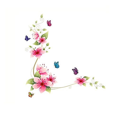 Amaonm RED Flower Wall Decals DIY Removable PVC Wall Stickers Murals Flowers Butterfly Nursery Peel Stick Wall Art Decor for Kids Girls Bedroom Living Room Office