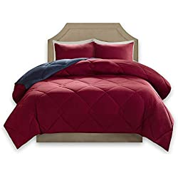 Comfort Spaces – Vixie Reversible Goose Down Alternative Comforter Mini Set - 2 Piece – Red and Navy – Stitched Geometrical Diamond Pattern – Twin/Twin XL Size, Includes 1 Comforter, 1 Sham