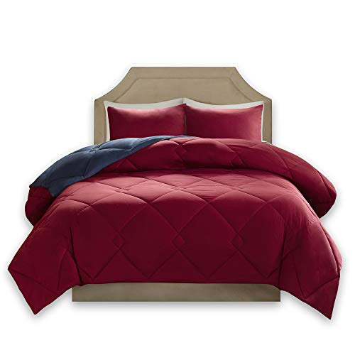 Comfort Spaces – Vixie Reversible Goose Down Alternative Comforter Mini Set - 3 Piece – Red and Navy – Stitched Geometrical Diamond Pattern – Full/Queen Size, Includes 1 Comforter, 2 Shams (Queen Red Bedding)