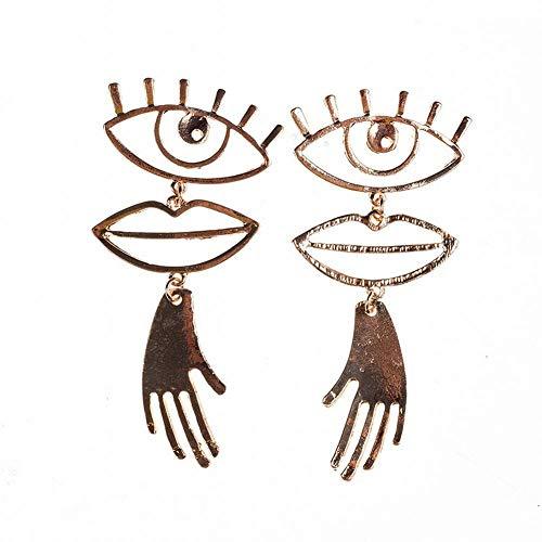 ZRDMN European And American fashion Ear glasses fall into the hands of the lips shaped earrings, Jewelry Earrings Water Drop Pendant Stud Earrings for Womens