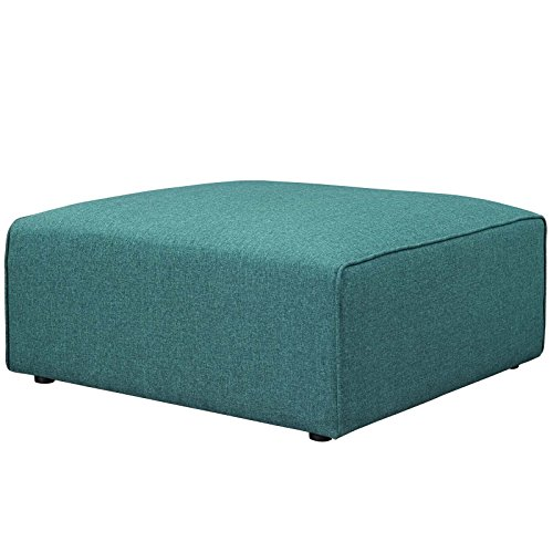 Modway Mingle Polyester Upholstered Generously Padded Ottoman, Blue Fabric For Sale